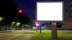Advertising billboard timelapse at night - stock footage