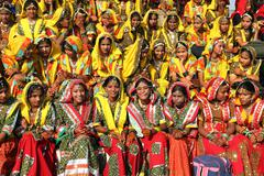 group of indian girls in colorful ethnic attire - stock photo