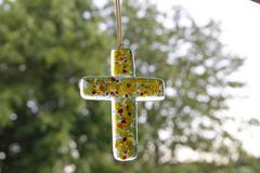 Glass Cross - Close up - stock photo