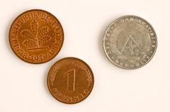 Stock Photo of former european currency of germany east and west