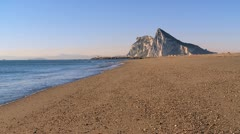 Rock of Gibraltar seen from Spanish beach Stock Footage