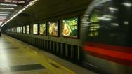 Train traveling leave Beijing subway station platform in modern urban city. Stock Footage