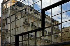 palace in a window in the centre  buenos aires - stock photo