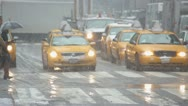 Snow falling in New York City crowd walking slow motion 25p Stock Footage