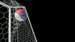 Czech republic ball scores in slow motion with alphachannel Stock Footage