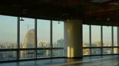 View modern architecture from building window,escape layer,sun through window. Stock Footage