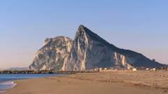 Gibraltar seen from la Linea beach Stock Footage