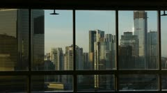 View modern urban high-rise from windows,business financial center. Stock Footage