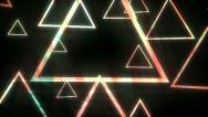 Stock Video Footage of Spinning Triangle Animation with Streaming Colors VJ Clip