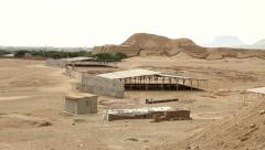 Huaca del Sol and archaeological excavations Stock Footage