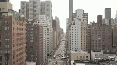 new york city areal view skyline street tracking shot 1080 HD - stock footage