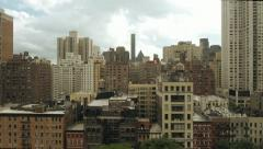 new york city areal view skyline tracking shot 1080 HD - stock footage