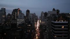 New york city at night areal view skyline tracking shot 1080 HD Stock Footage