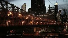 new york city at night skyline bridge areal view 1080 HD - stock footage