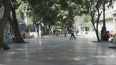 Walking On Paseo del Prado Promenade Stock Footage