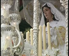 Virgin in procession during Holy Week Spanish Stock Footage