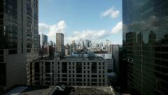 City skyline skyscrapers. towers cityscape areal view. nyc new york Stock Footage