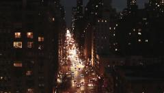 new york at night traffic street areal view tracking shot 1080 HD - stock footage