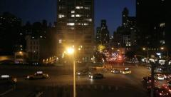 New york at night traffic areal view tracking shot 1080 HD Stock Footage
