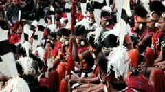 Chakhesang tribesman at festival, India Stock Footage