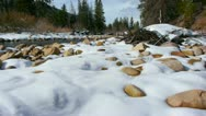 Jib up mountain river and snow Stock Footage