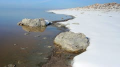 Antelope Island in the Great Salt Lake winter shore line. Stock Footage