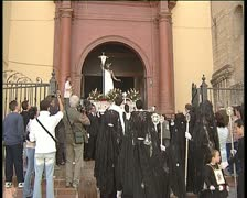Paso or throne in procession in holy week spanish Stock Footage
