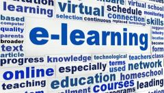 E-learning word clouds message - stock footage