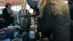 People drink hot tea coffee retro equipment tool spring event Stock Footage