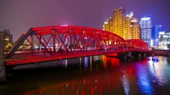 Steel Bridge Night Traffic Stock Footage
