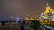 Night Crowds Traffic at The Bund, Shanghai Stock Footage