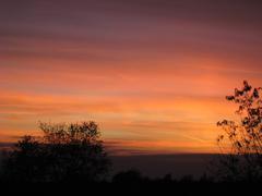 Orange Sunset Over Western Michigan Stock Photos