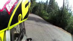 COOL MOTORCYCLE POV FROM REAR IN TIME LAPSE MODE ON COUNTRY ROAD HD 1080 Stock Footage