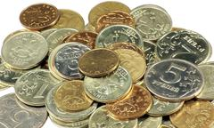 Scattering of coins Stock Photos