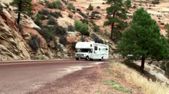 Cars at Zion Canyon Scenic Drive. Utah, USA Stock Footage