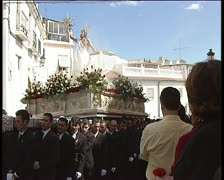 Paso or throne in procession in holy week spanish 3, zoom in Stock Footage