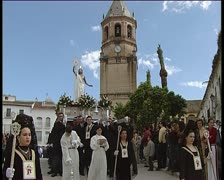 Paso or throne in procession in holy week spanish 5 Stock Footage