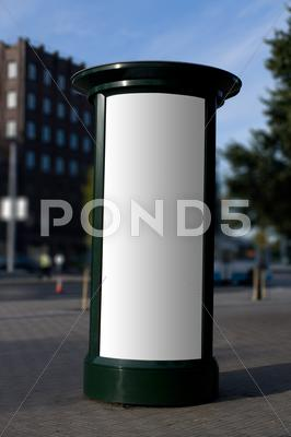 Stock photo of blank outdoor advertising column