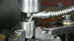 Industrial cnc drill machine milling some steel part Stock Footage