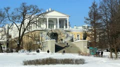Cameron Gallery and tourists in Pushkin city, St. Petersburg, Russia Stock Footage
