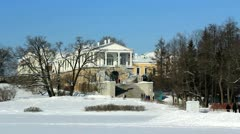 PAN: Cameron Gallery and Grotto Pavilion in Pushkin city, St. Petersburg Stock Footage