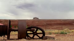 Metal artifacts near Route 163 in Monument Valley, Arizona-Utah, USA Stock Footage