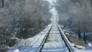 Stock Video Footage of Railroad Tracks in Winter