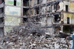 demolished house - stock photo