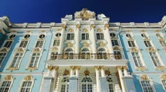Facade of Catherine Palace in Pushkin city, St. Petersburg, Russia Stock Footage