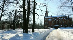 PAN: Lutheran church in Puskin city, the environ of St.Petersburg,Russia Stock Footage