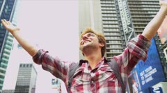 Male Backpacker Successful Trip New York Times Square Stock Footage