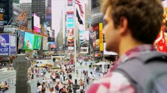 Male Global Traveller New York Times Square Stock Footage