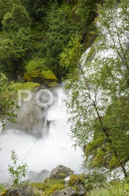 Stock photo of Norway - Jostedalsbreen National Park - Waterfall
