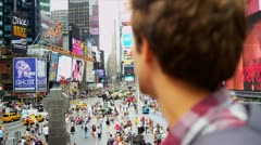 Caucasian Male Backpacker Arriving Times Square USA Stock Footage
